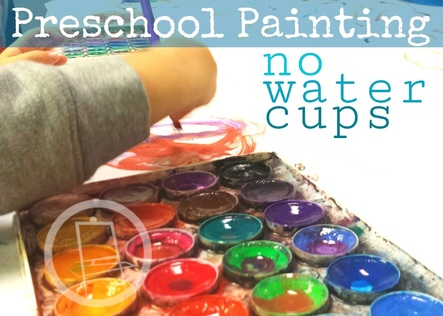 Use spray bottles to saturate your watercolor palettes! Brilliant! No more spilled water cups. Plus, it's really fast and kids love spray bottles. [Orange Easel Art]