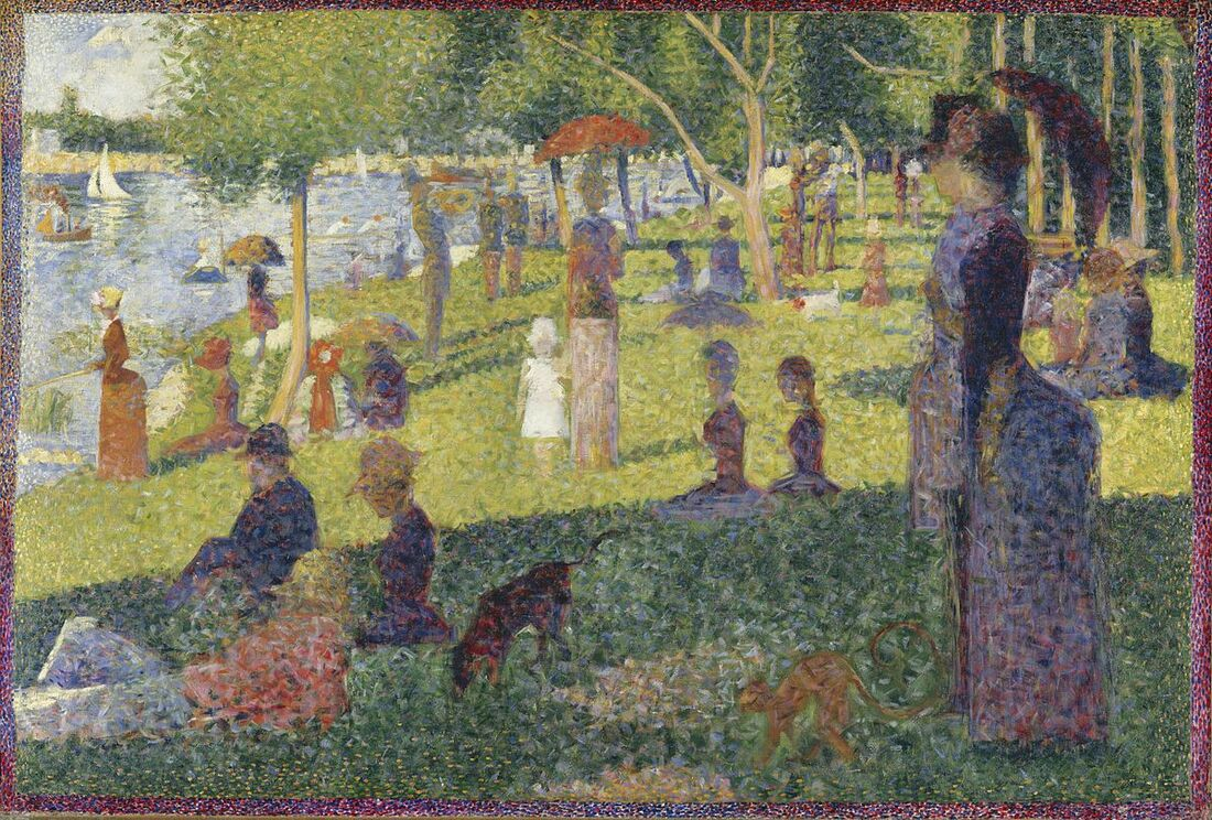 Teaching Art History to Preschoolers can be engaging and full of process art invitations. Check out our favorite art activities inspired by George Seurat and Pointillism