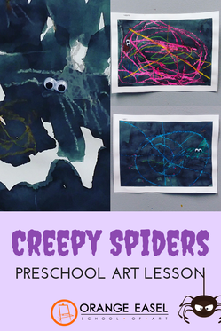 Inside the Preschool Art Room - Creepy spider drawing and painting lesson for the the preschool classroom