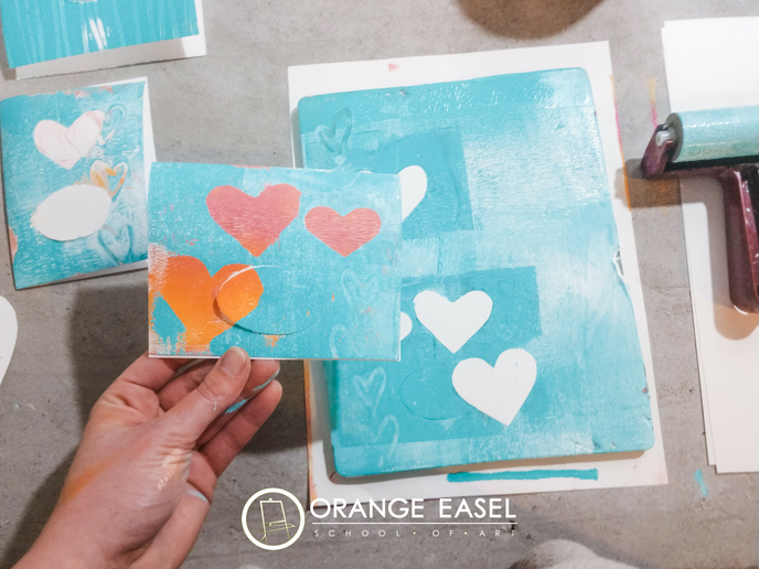 Gel Print Kids Art Activity perfect for homemade diy valentines -- uses gelli plates -- finished with gold detailing