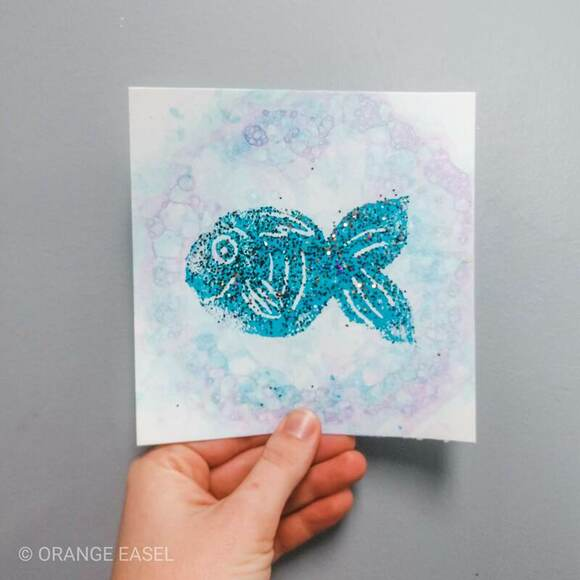 Colorful Bubble Art Activity for Kids. The first step to our glittery, Rainbow Fish art project!
