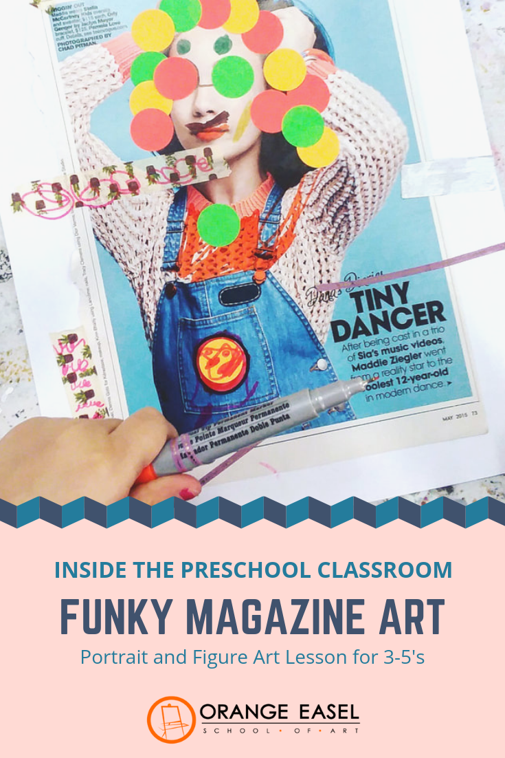 Inside the Preschool Art Room : Portraiture and Figure Study by using magazines as your canvas (and whatever else you have lying around)