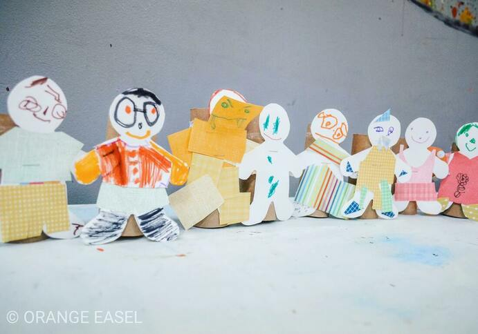 Easy paper doll art invitation to support a portraiture and figure art lesson for our preschool art classes