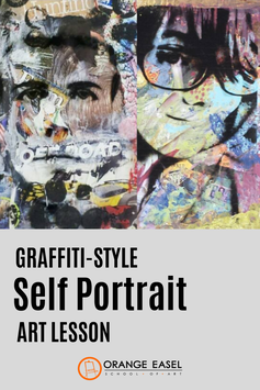 Graffiti-Style Self Portrait Art Lesson that uses digital photography, transparencies, collage materials, and block printing.