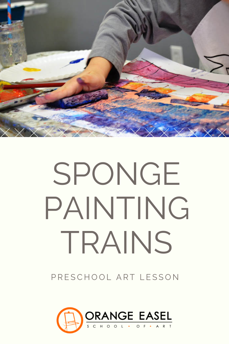 Squishy, paint-filled sponges are the best exercise for those little finger muscles. Check out this process art activity for your preschool train lovers!